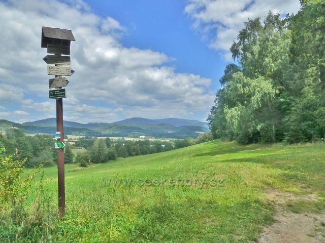 Rapotín - turistický rozcestník v Ludvíkovském sedle, které odděluje Bukový kopec(641 m.n.m.) a vrch Strážník(470 m.n.m.)