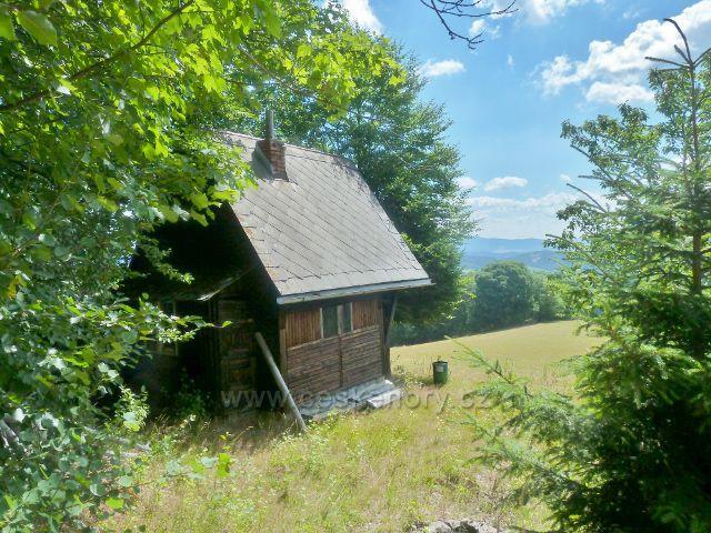 Štědrákova Lhota - chatka na okraji lesa nad pastvinou nad Štědrákovo Lhotou