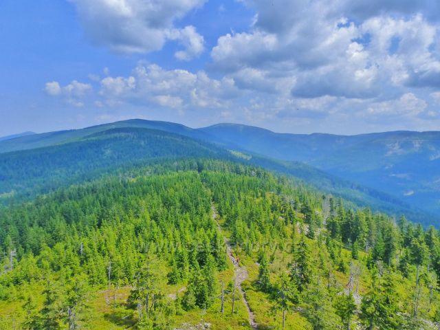 Dolní Morava - pohled z rozhledny Klepáč hřeben vrchú Hleďsebe,Hraniční skály a Malého Sněžníku.V pozadí vyčnívá Králický Sněžník.