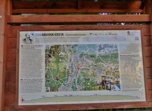 Mariánské Lázně - tabule lázeňské vycházkové trasy Edwardova cesta