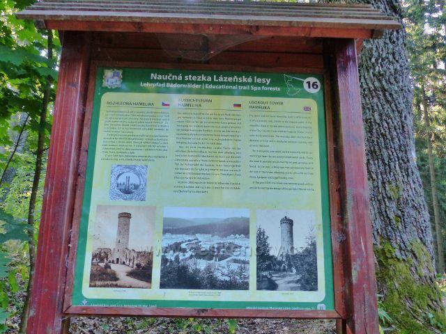 Mariánské Lázně - panel 16.zastavení NS Lázeňské lesy, rozhledna Hemelika