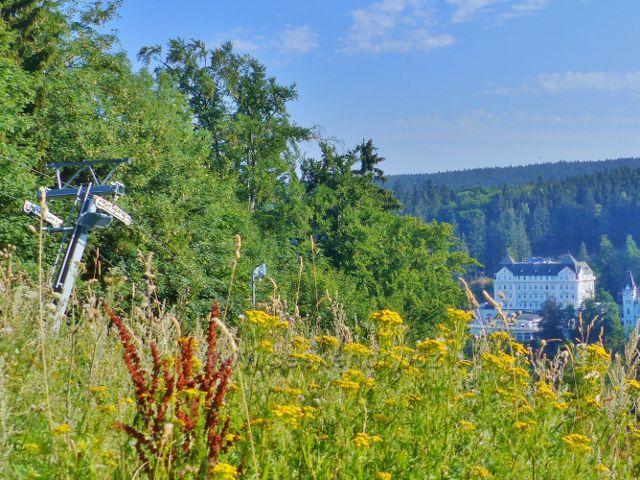 Mariánské Lázně - pohled z vrchu Slalomák k hotelu Esplanade