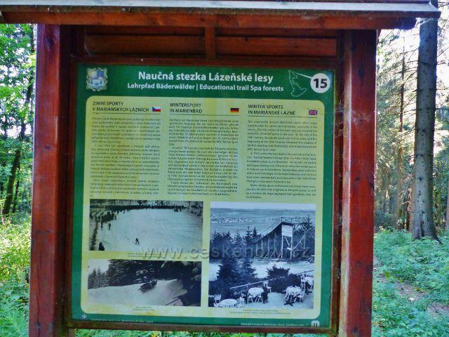 Mariánské Lázně - tabule 15.zastavení NS Lázeňské lesy Zimní sporty v Mariánských Lázních