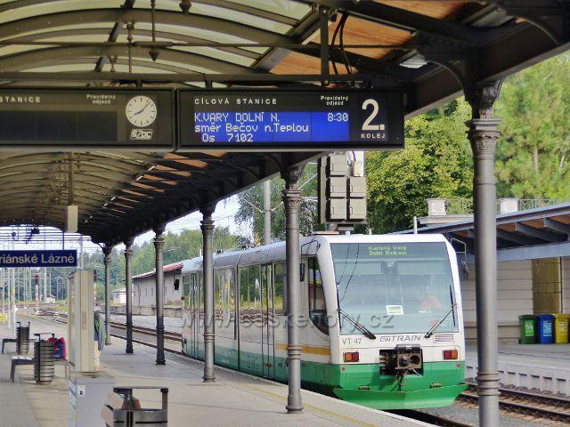 Mariánské Lázně - nádraží ČD. GW TRAIN jezdí na trati do Karlových Varů
