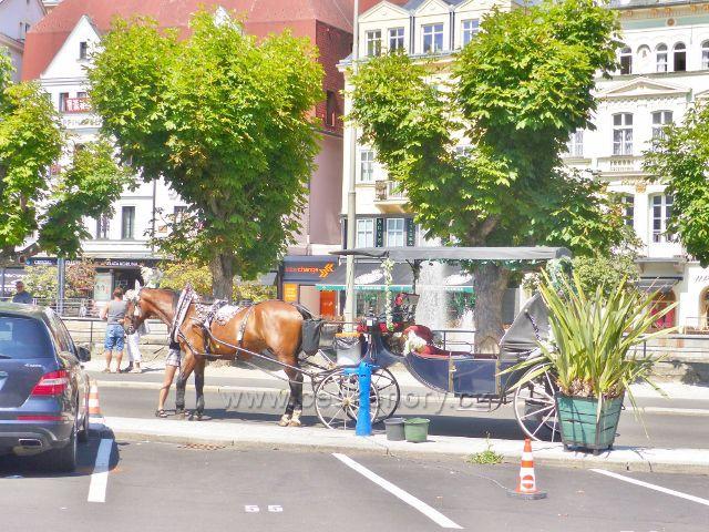 Karlovy Vary - stanoviště koňských kočárů na nábřeží u Divadelního náměstí