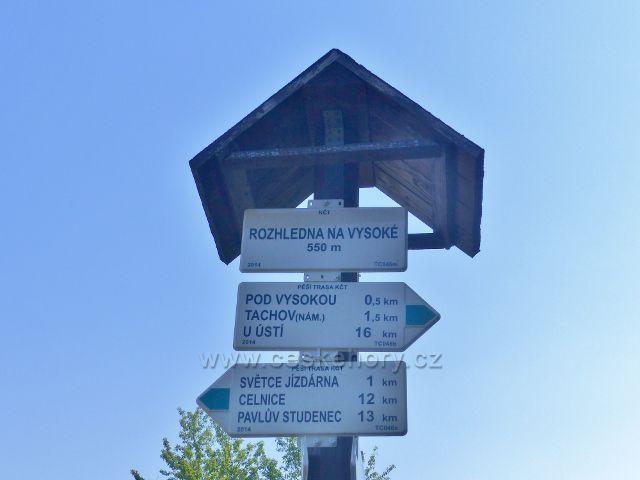 """Tachov - turistický rozcestník """" Rozhledna Vysoká, 550 m.n.m."""""""