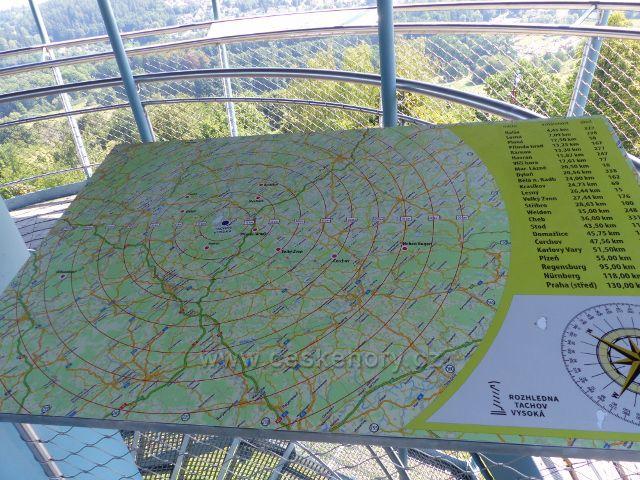 Tachov - orientační mapa na rozhledové plošině rozhledny Vysoká