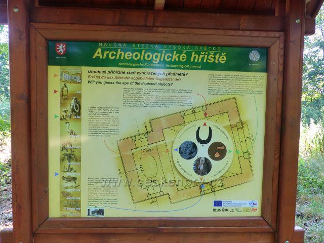 Tachov - panel Archeologické hřiště u základů bývalé kaple na Vysoké