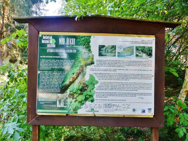 Bečovská botanická zahrada - panel o historii zahrady