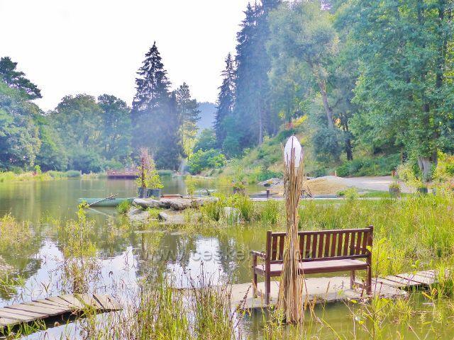Bečovská botanická zahrada - Korunní rybník tvoří centrální část zahrady