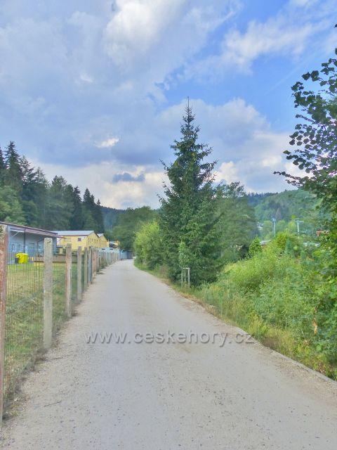 Bečovská botanická zahrada - pohled na přístupovou cestu do zahrady od vstupní brány u vrátnice družstva Elektro