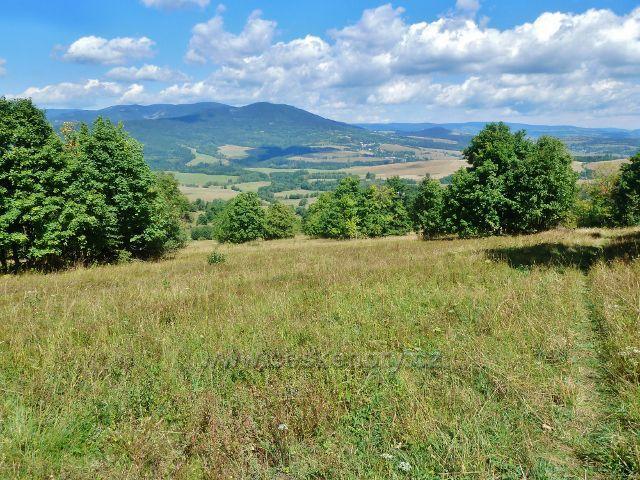 Podlesí - pohled z úbočí Pohořelce na Vojtíškov, Sviní horu nad ním a další vrcholy pásma Králického Sněžníku
