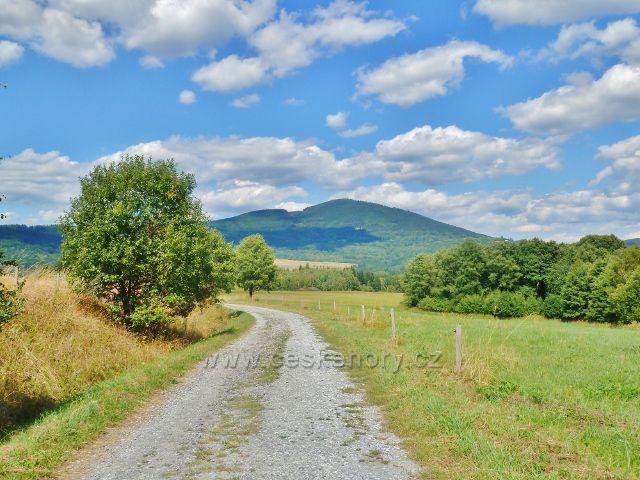 Podlesí - cesta po modré TZ na Malou Moravu, na obzoru je Sviní hora nad Vojtíškovem(1074 m.n.m.)