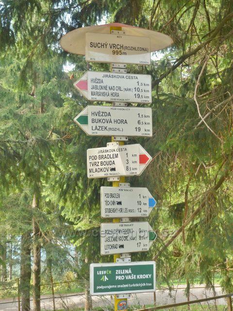 "Suchý vrch - turistický rozcestník ""Suchý vrch(rozhledna), 995 m.n.m."""