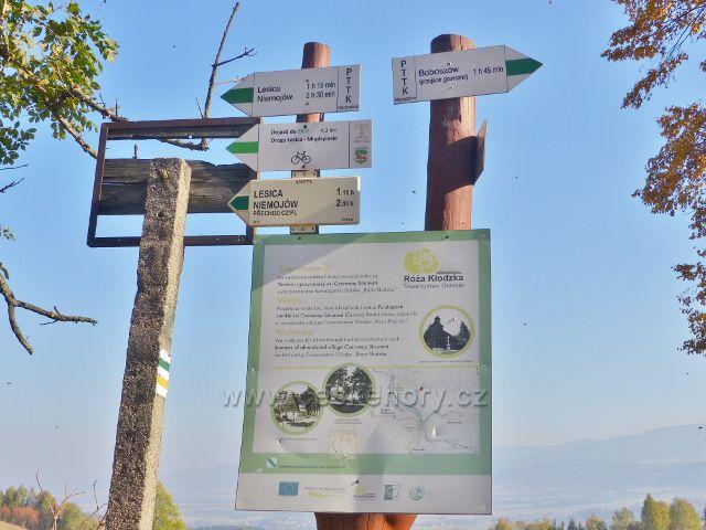 Petrovičky - polský turistický rozcestník na hraničním přechodu udává údaje v čase