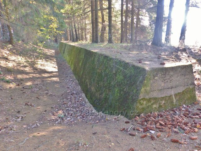 Petrovičky - protitankový zátaras mezi pěchotním srubem Křížek a srubem Rozhledna