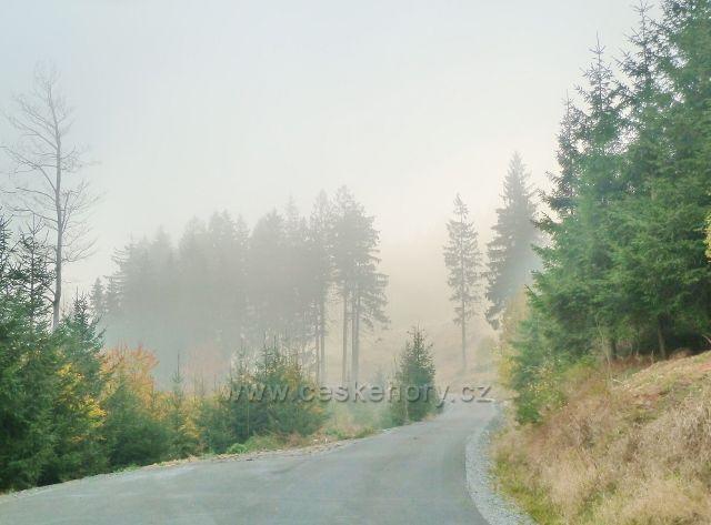 Lichkov - mlha nad Mladkovskou bunkrovkou na úbočí vrchu Vysoký kámen