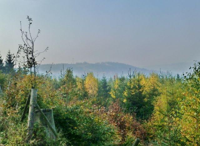Mladkov - pohled z Mladkovské bunkrovky k vrchu Hejnov nad Těchonínem