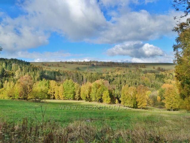 Zlatý Potok - pohled na úbočí vrchu Val nad Zlatým Potokem