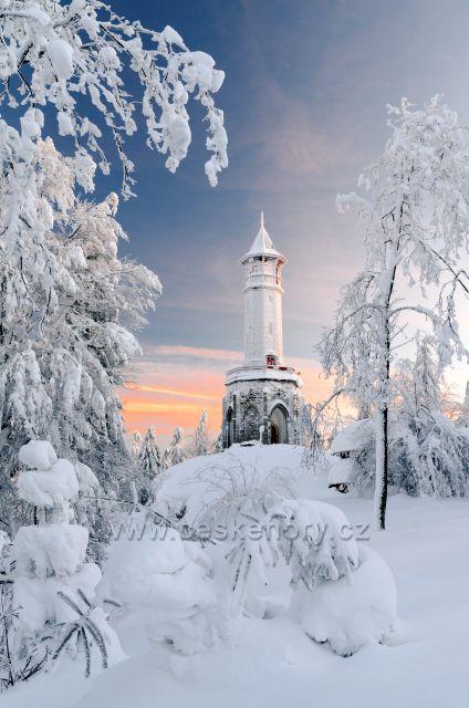 Jako v zimním království-rozhledna Štěpánka.