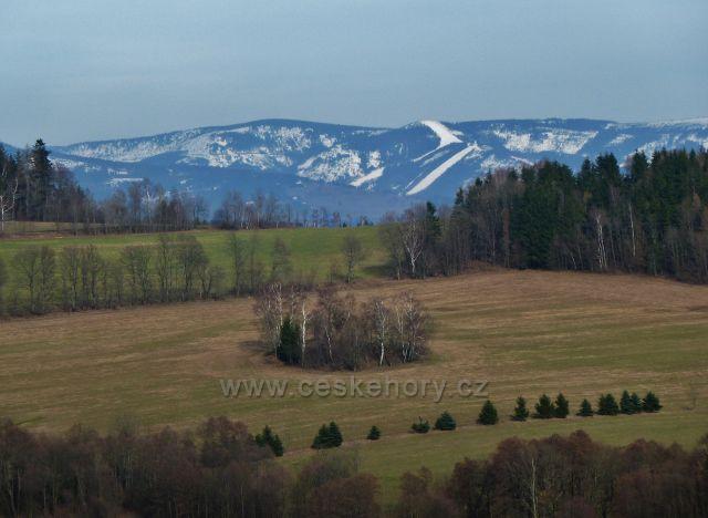 Pohled z úbočí Studeného na Slamník v pásmu Králického Sněžníku