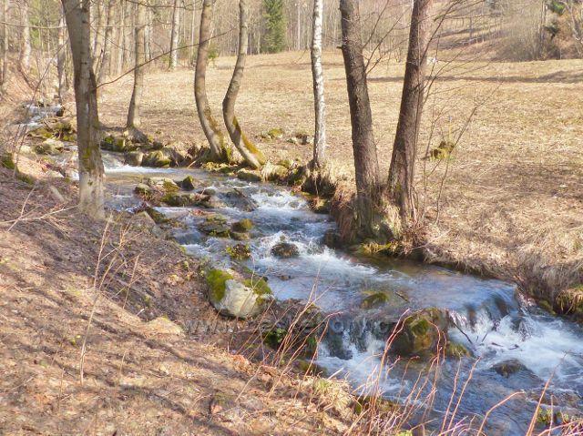 Sklené - prudký spád potoka Malá Morava