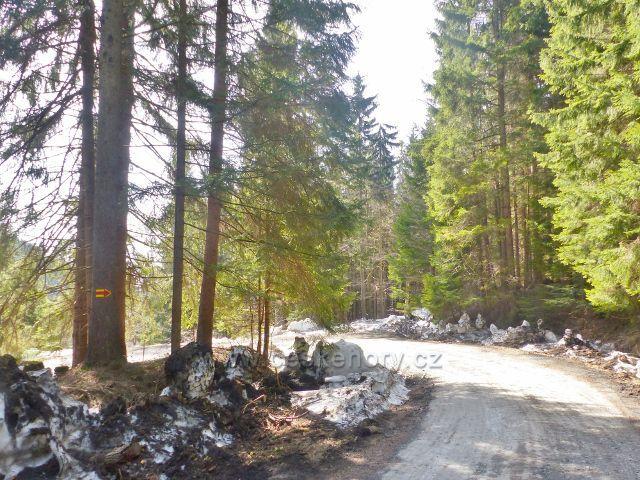 Sklené - v ostré zatáčce odbočuje cyklostezka vedoucí na Dolní Moravu