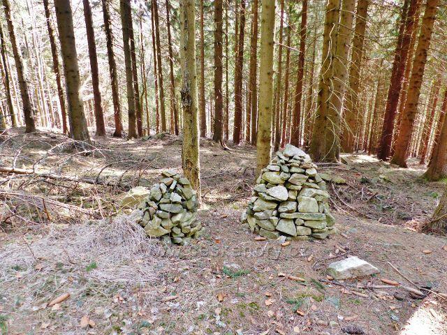 Sklené - novodobé lesní mohyly u cesty na Dolní Moravu