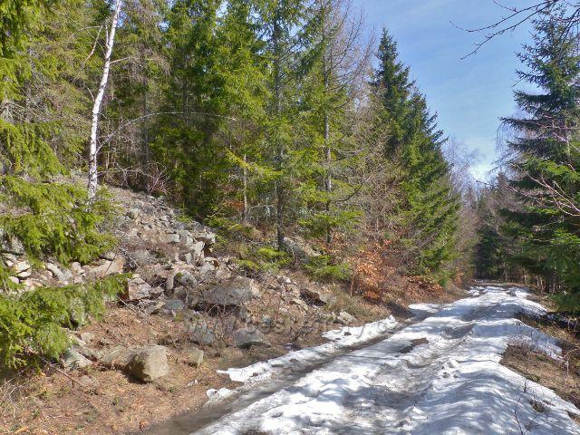 Sklené - jarní zbytky sněhu na cestě k Dolní Moravě