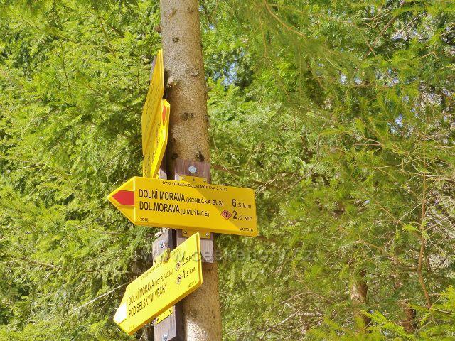 Dolní Morava - cyklistický rozcestník Smolkův most, směr Dolní Morava