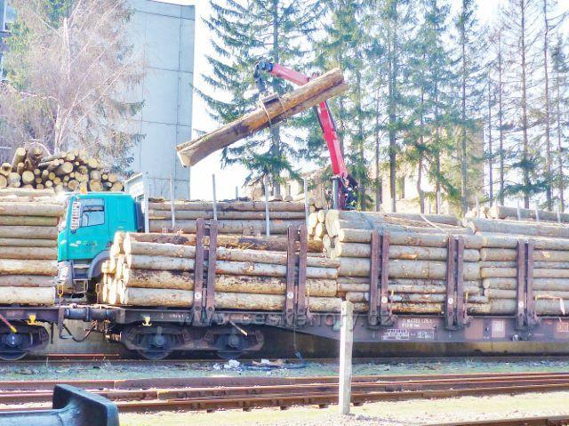 Rokytnice v Orlických horách - vagonování dřeva z lesů Orlických hor