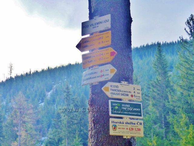 """Turistický rozcestník """"Pod Vilemínou, 860 m.n.m."""""""