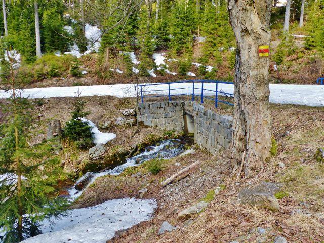 Mostek přes levostranný přítok Moravy,který sbírá vody ze svahů vrchu Stříbrnická(1250 m.n.m.)
