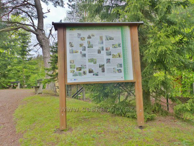 Žampach - panel Arboreta v horním zámeckém parku