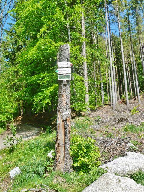 """Turistický rozcestník """"Pod Vršavou, 565 m.n.m."""""""