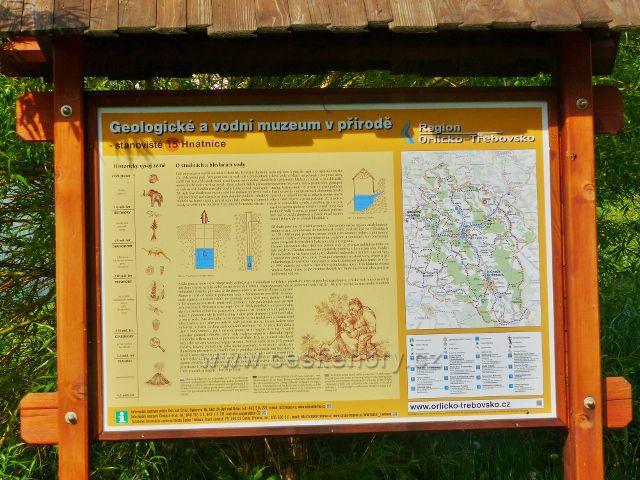 Hnátnice - detail panelu 15.zastavení Geologického a vodního muzea v přírodě.