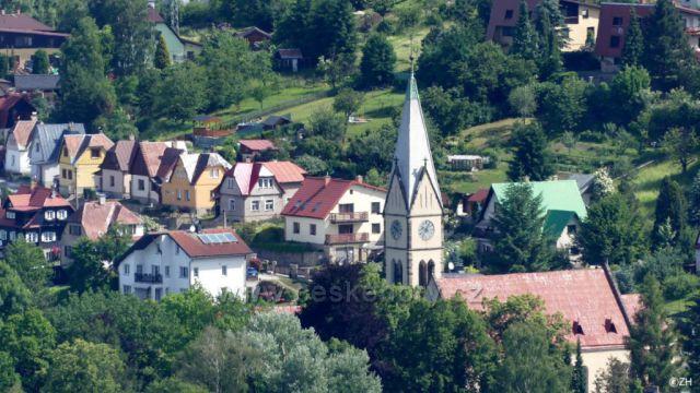 Kostel sv. Františka z Assisi, pohled z Terezínky