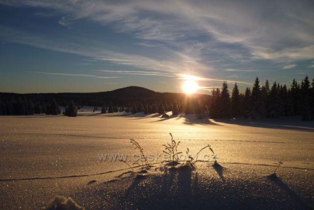 Západ slunce nad Špičákem- Boží Dar