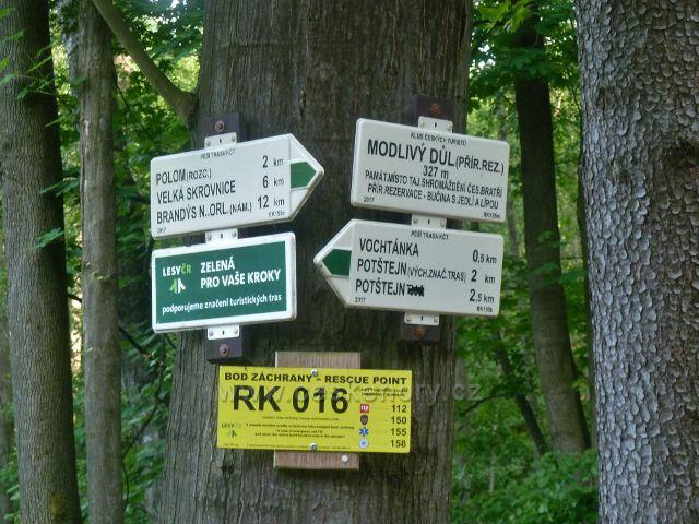Potštejn - bod záchrany RK 016 na rozcestí Modlivý důl