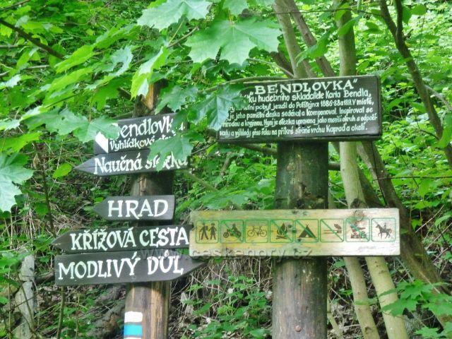 """Potštejn - místní rozcestník pod hradním kopcem u stezky """"Bendlovka"""""""