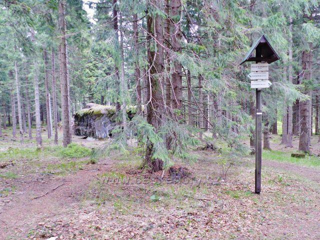 """Panské Pole - turistický rozcestník""""Pěchotní srub R-81, 876 m.n.m."""""""