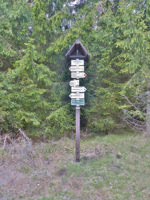"""Panské Pole - turistický rozcestník """"Anenský vrch(sedlo), 945 m.n.m."""""""