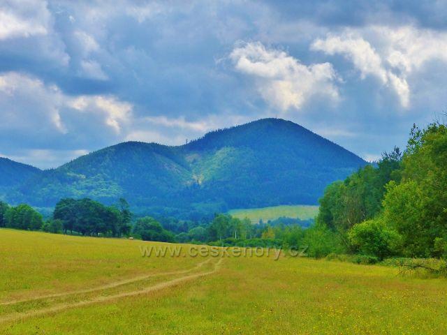 Pohled na Královecký Špičák(881 m.n.m.)z cesty nad Dvorským lesem