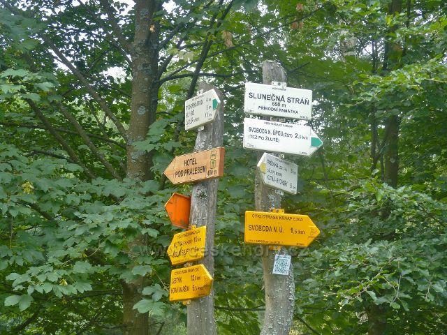 """Svoboda nad Úpou - turistický rozcestník """"Slunečná stráň, 650 m.n.m., přírodní památka"""""""