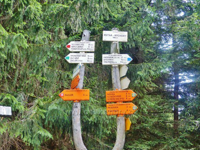 """Rýchory -turistický rozcestník """"Kutná-Rýchory 996 m.n.m."""""""