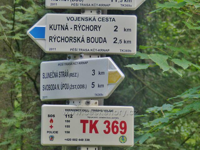 """Rýchory - detail turistického rozcestníku """"Pašovka"""""""