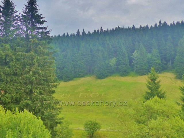 """Malá Úpa - louka pod lesem vedle penzionu """"U Dolu"""" plní i funkci poutače"""