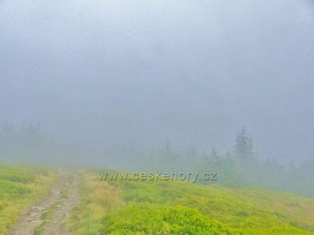 Horní Malá Úpa - stezku k vrcholu Tabule provází souvislá mlha bránící výhledům do polské krajiny