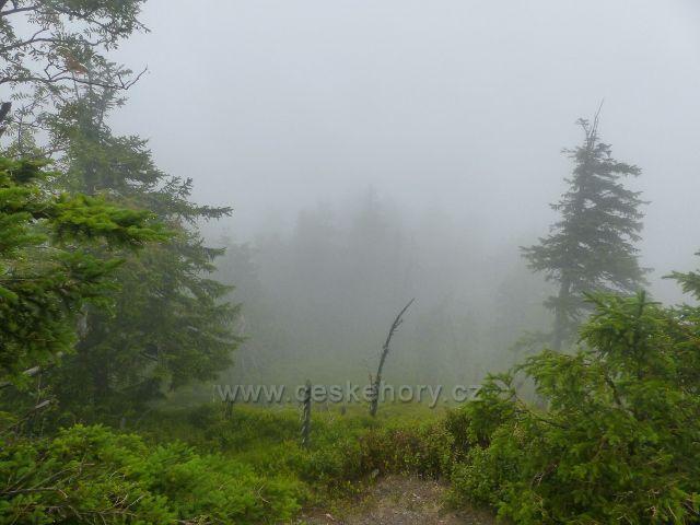 Horní Malá Úpa - pohled do mlhy z vrcholu Tabule