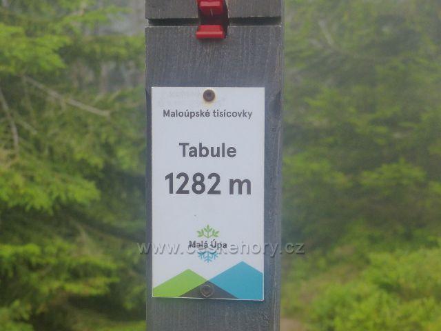 Horní Malá Úpa - sloupek s tabulkou Maloúpské tisícovky na vrcholu Tabule